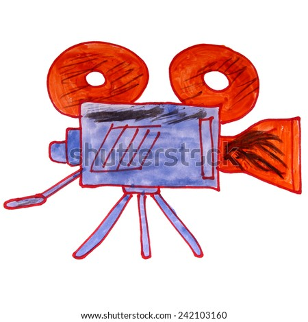 watercolor drawing kids cartoon video camera on a white background