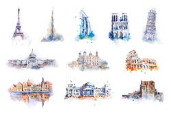 Watercolor drawing most famous buildings, architecture, sights of European and other countries