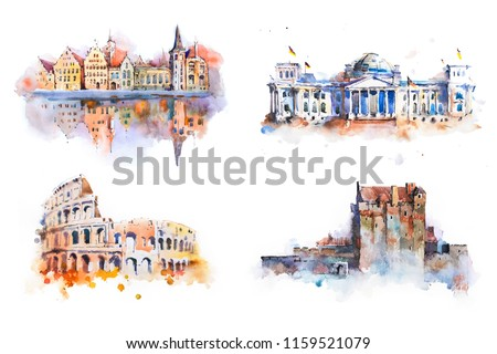 Watercolor drawing most famous buildings, architecture, sights of European countries.