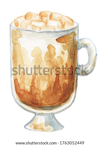 Watercolor drawing of a cup of coffee or tea. Image for the menu of restaurants and cafes. Coffee drink. A cup of black tea, a cup of coffee. Fragrant Americano, cappuccino.