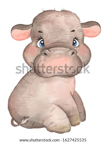 Watercolor drawing of a cute little hippo, little hippo, cute hippo, nursery, safari, little hippo, cute african animal, baby cards, greetings, baby show, baby animal, baby animal Stock photo ©