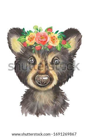 Watercolor drawing of a little teddy bear, floral decoration, wreath, wild, forest animal