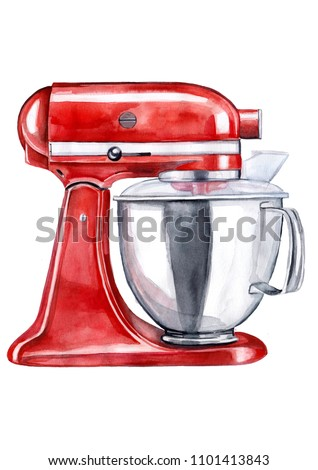 Watercolor drawing of a mixer Kitchen Aid