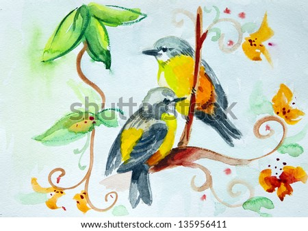 Birds Flowers Drawing Watercolor Drawing of Birds on