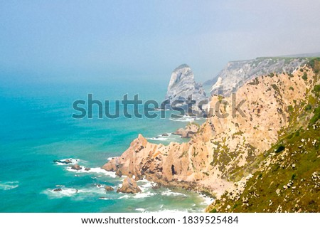 Watercolor drawing of Cape Roca Cabo da Roca with sharp rocks and cliffs on shores of Atlantic Ocean with copy space, Portugal Foto stock ©