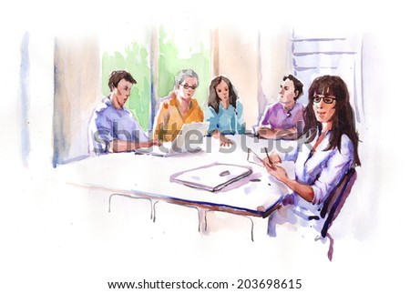 Watercolor Drawing Paining Business People Casual Clothing Meeting Creative Agency Office Conference Room Brainstorming Concept