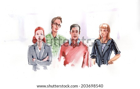Watercolor drawing paining group portrait abstract businessmen team. High resolution watercolors draw collection.