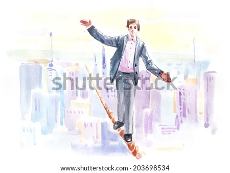 Watercolor drawing paining portrait businessman rope walking on the edge. Risk in business concept. High resolution watercolors draw collection.