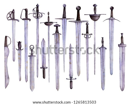 watercolor drawing swords and daggers isolated at white background, hand drawn illustration