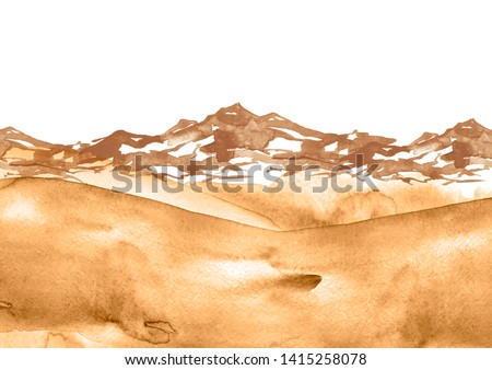 Watercolor drawing with a mountain landscape. The peak of the mountain, the rock, the canyon. Watercolor yellow, brown hill, hillock. Desert, sand. Summer, autumn landscape