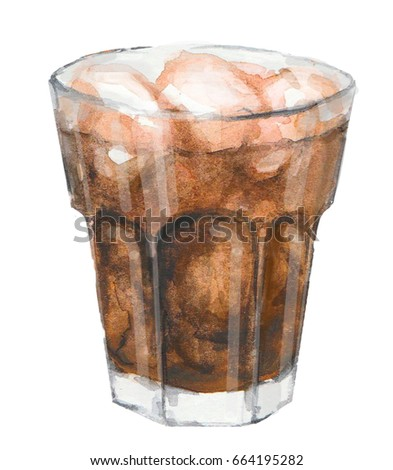 Watercolor drink isolated, whiskey, Coca Cola, glass with ice
