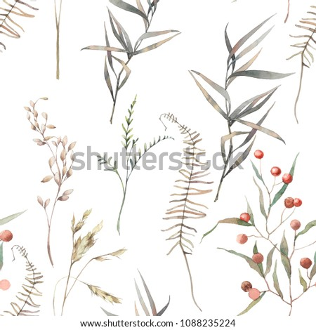 watercolor dry herbs seamless...