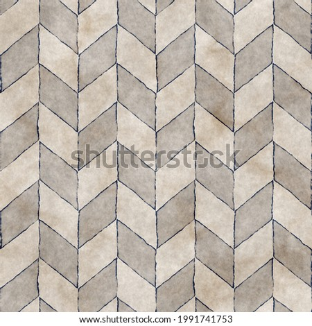 Watercolor-Dyed Effect Textured Contoured Herringbone Seamless Pattern
