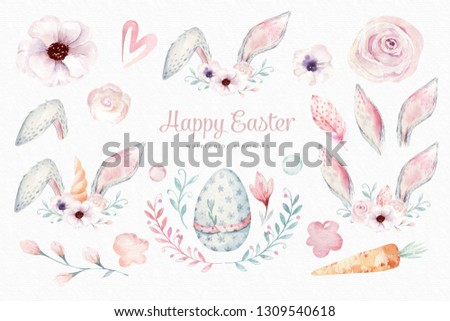 Watercolor Easter elements, Spring blossom, branch, Easter eggs, colorful eggs, bunny and bannies ears. rabbit Scrapbooking element