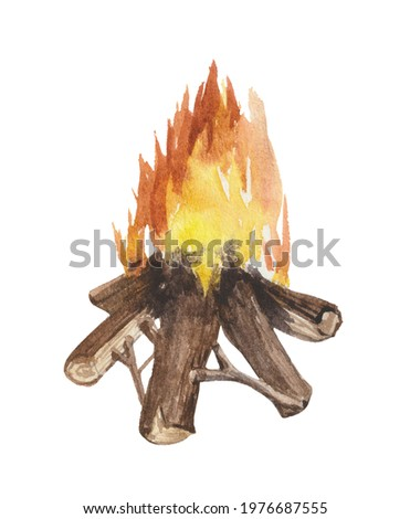 Watercolor element on a white background, campfire. For decoration of design compositions on the theme of hiking, conquering peaks, tourism, wildlife.