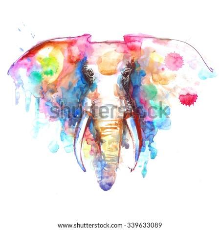 Watercolor elephant portrait on white background. Hand sketch grunge illustration.