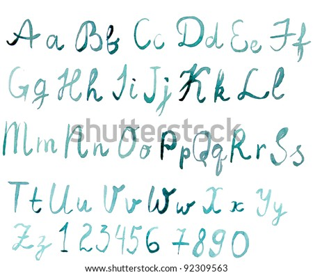 watercolor english alphabet with numbers