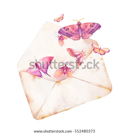 Watercolor envelope and butterfly illustration. Hand drawn vintage artwork with isolated paper envelope and various flying butterflies. Romantic message raster art