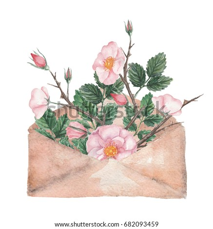 Watercolor envelope with wild rose