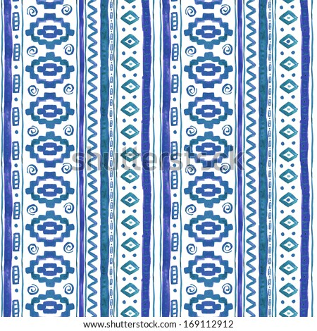 Watercolor Ethnic African Seamless Background #169112912