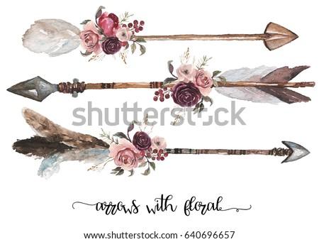 watercolor ethnic boho set of...