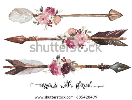 Watercolor ethnic boho set of arrows, feathers and flowers, native american tribe decoration print element, tribal navajo isolated illustration bohemian ornament, Indian, Peru, Aztec wrapping.