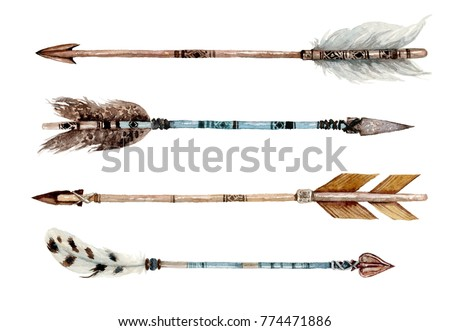 Watercolor ethnic boho set of arrows, native american tribe decoration print element, tribal navajo isolated illustration bohemian ornament, Indian, Peru, Aztec wrapping.