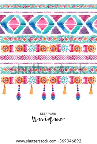 Watercolor ethnic card. Boho chic, ethnic, pattern, wallpaper.