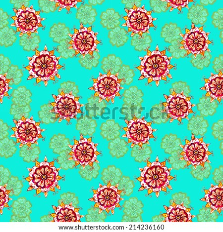 Watercolor: ethnic decorative flowers. Seamless floral pattern, decorative background