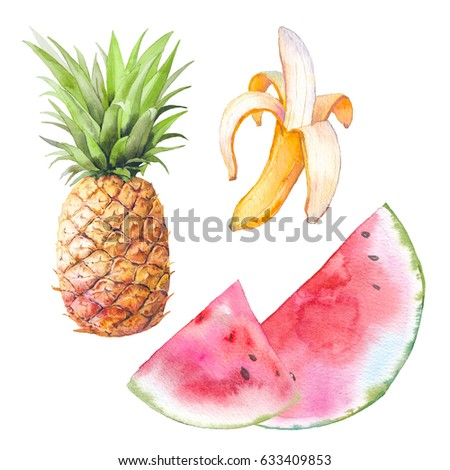 Watercolor exotic fruit set. Hand drawn banana, pineapple and watermelon illustration. Healthy food objects isolated on white background. Summer clip art