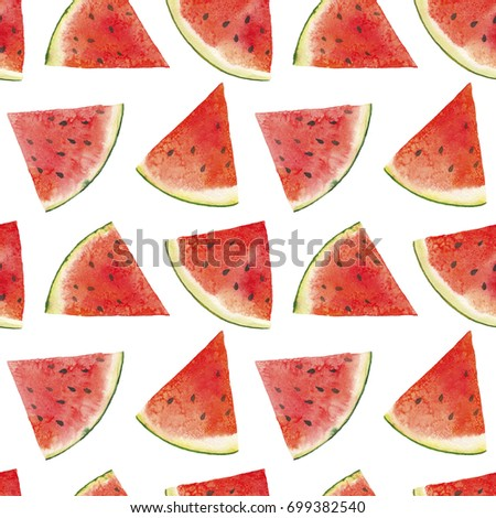 Watercolor exotic fruits seamless pattern. Red and white watermelon wallpapers. - Shutterstock ID 699382540