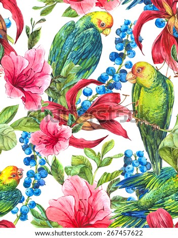 Watercolor Exotic Seamless Background with Blue berries Pink Tropical Flowers and Green Parrots Watercolor Illustration