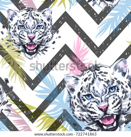 Watercolor exotic seamless pattern. Leopards with colorful tropical leaves on geometric texture. African animals background. Wildlife art illustration. Can be printed on T-shirts, bags, posters, card.