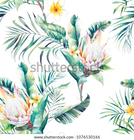 Watercolor exotic seamless pattern. Repeating texture with plants, tropical bouquet: palm tree branches, protea, banana leaves, frangipani flower. Summer wallpaper design