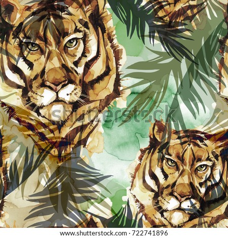 Watercolor exotic seamless pattern. Tigers with colorful tropical leaves. African animals background. Wildlife art illustration. Can be printed on T-shirts, bags, posters, invitations, cards.
