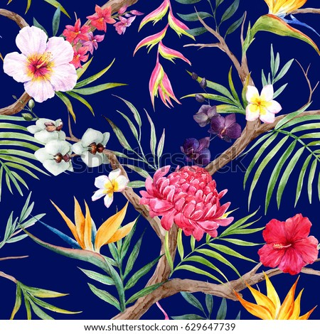Watercolor  Exotic tropical tree pattern with tropical plants. Flowers of hibiscus, blooming ginger, strelitzia and   Orchid, protea, palm leaves.  Dark background