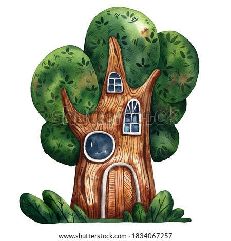 Watercolor fairy tale house. Big tree house. Fantasy forest gnome cottage. Cute windows and door. Funny estate design. Fairy tale tree home. Hand drawn style of illustration. Big fairy tale oak.