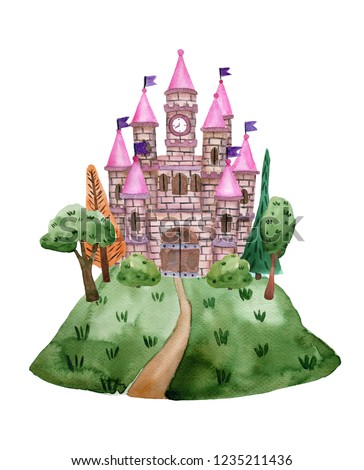 Watercolor fairytale castle with towers on the hill for princess. Children's illustration isolated on white background.