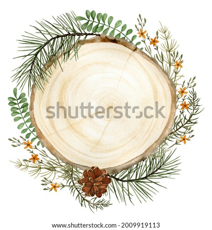 Watercolor fall forest round frame clipart with wood slice, pine branches and pinecones, yellow flowers and leaves for wedding invitation, thanksgiving greeting card, ready to use sublimation design Stock photo ©