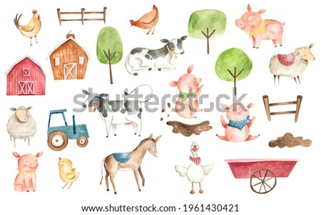 Watercolor farm animals illustration with hen, cow, horse, chicken in red, green and blue, for baby and children