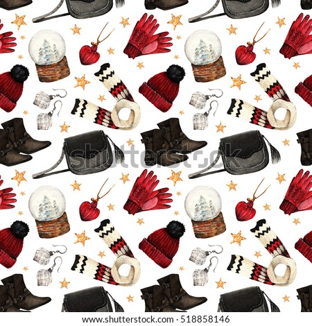 Watercolor Fashion Illustration. set of trendy accessories. Winter clothes.shoes,pendant, bag, scarf,hat, gloves, earrings,snowglobe,seamless pattern,light background