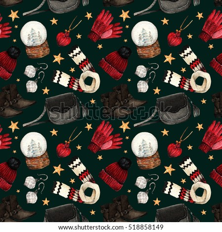 Watercolor Fashion Illustration. set of trendy accessories. Winter clothes.shoes,pendant, bag, scarf,hat, gloves, earrings,snowglobe,seamless pattern,black background