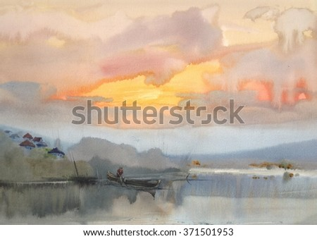 Stock Photo watercolor fishing sunset illustration