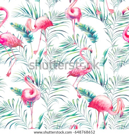 Watercolor flamingo and tropical leaves seamless pattern. Hand painted texture with bright exotic birds and palm tree greenery on white background. Fashion wallpaper design