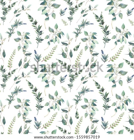 Watercolor flora wallpaper design. Hand drawn seamless pattern with greenery on white background. Repeating summer texture
