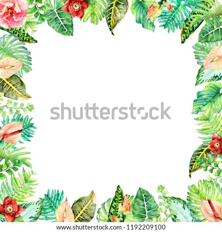 Watercolor floral arrangements with leaves, herbs, flowers. Botanic illustration for wedding, greeting card.Tropical mood. #1192209100