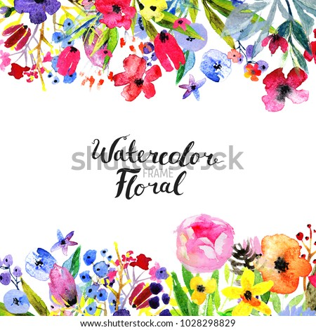 Watercolor Floral Background. Hand painted border of flowers. Good for invitations and greeting cards. Painting isolated on white and brush lettering. Rose, poppy and peony illustration Spring blossom #1028298829