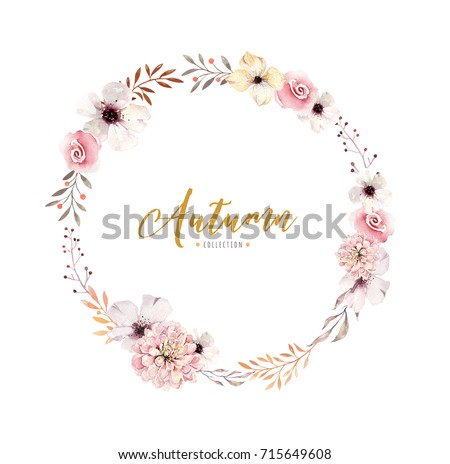 Watercolor floral boho flower wreath. Watercolour natural frame: leaves, feather and birds. Isolated on white background. Artistic bohemian decoration illustration. Save the date.
