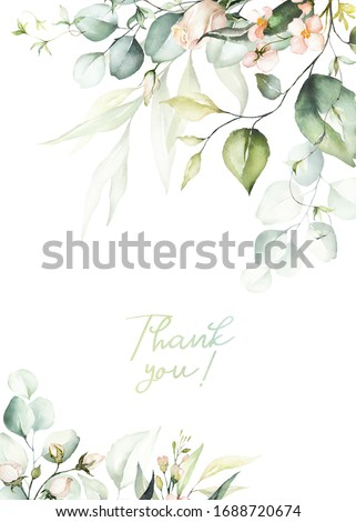 Watercolor floral border / wreath / frame with bright peach color, white, pink, vivid flowers, green leaves, for wedding invites, wallpapers, fashion, background, texture, wrapping.