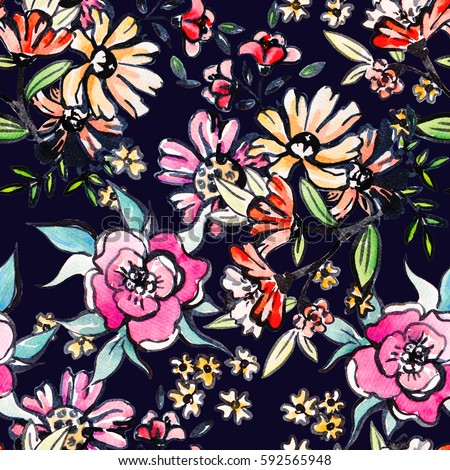 Watercolor floral botanical seamless pattern. Good for printing on fabric, wrapping paper, wallpaper. Raster illustration.